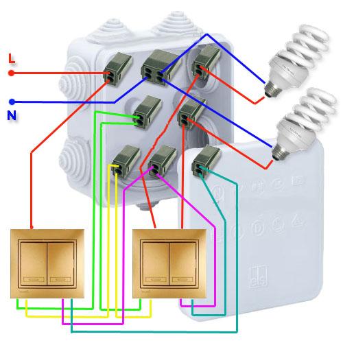 Схема подключения двойного переключателя