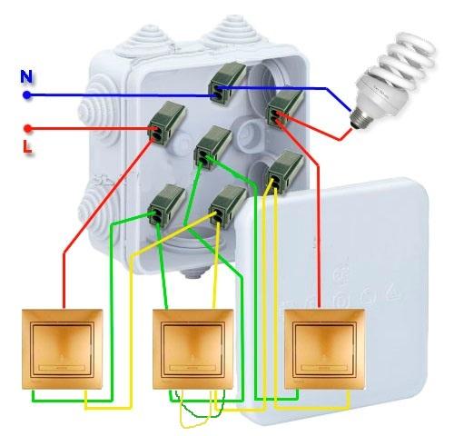 Как сделать два выключателя на одну лампочку схема